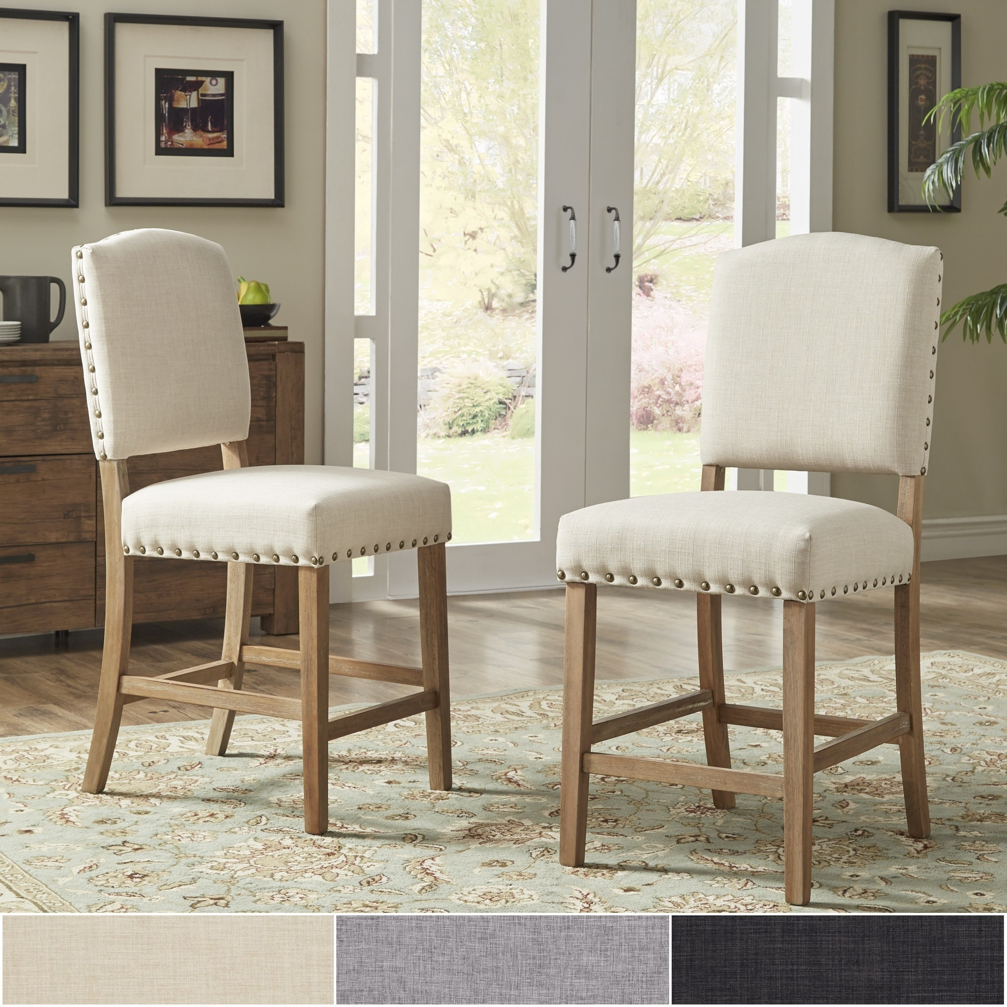 Benchwright Premium Nailhead Upholstered Counter Height Intended For 2018 Benchwright Counter Height Tables (View 13 of 25)