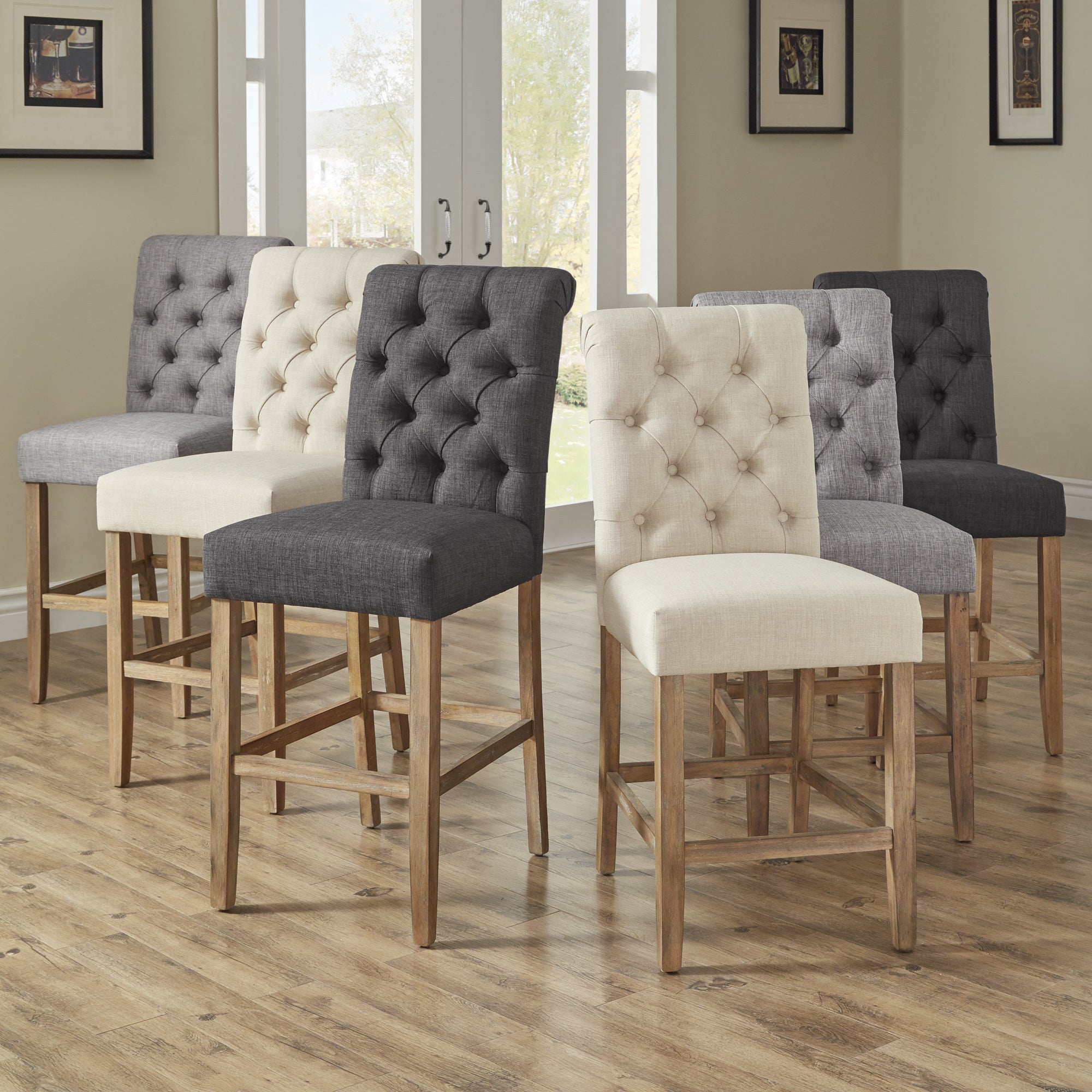 Benchwright Premium Tufted Rolled Back Counter/ Bar Height Stools (Set Of 2)Inspire Q Artisan For Recent Benchwright Bar Height Dining Tables (View 8 of 25)