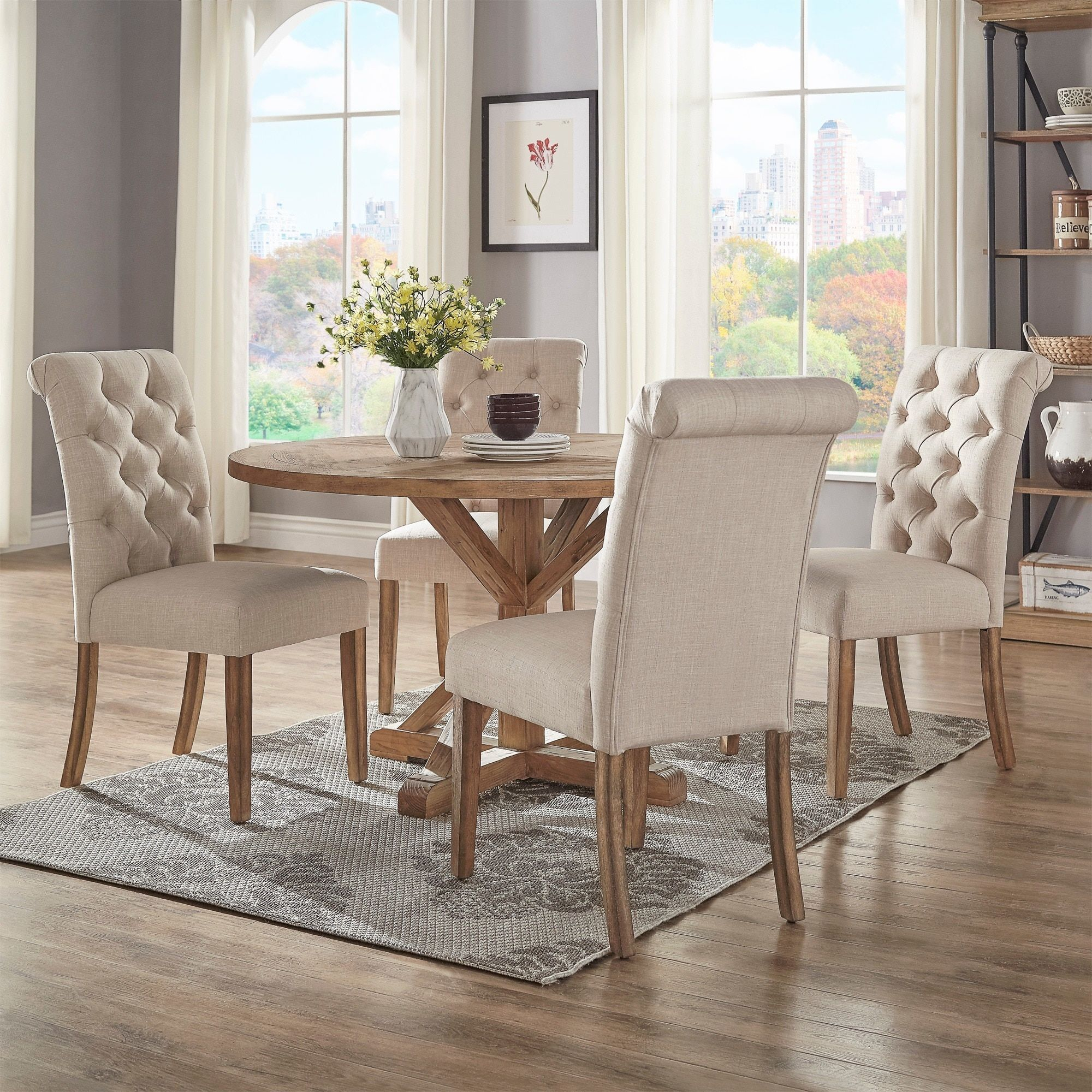 Benchwright Rustic X Base 48 Inch Round Dining Table Set For Latest Benchwright Round Pedestal Dining Tables (View 3 of 25)
