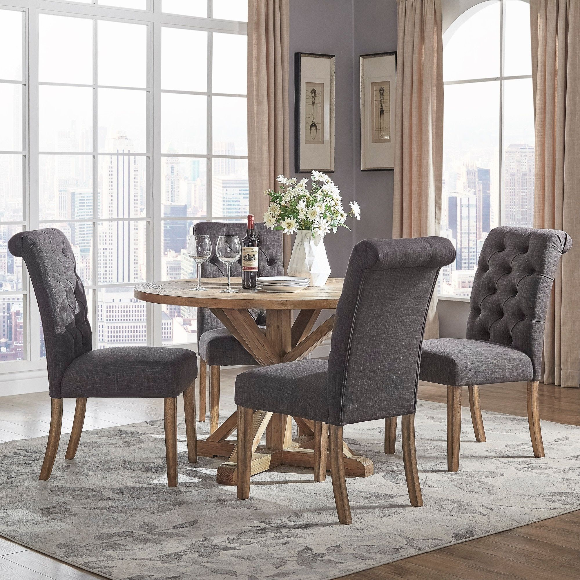 Benchwright Rustic X Base 48 Inch Round Dining Table Set Pertaining To 2017 Benchwright Round Pedestal Dining Tables (View 17 of 25)