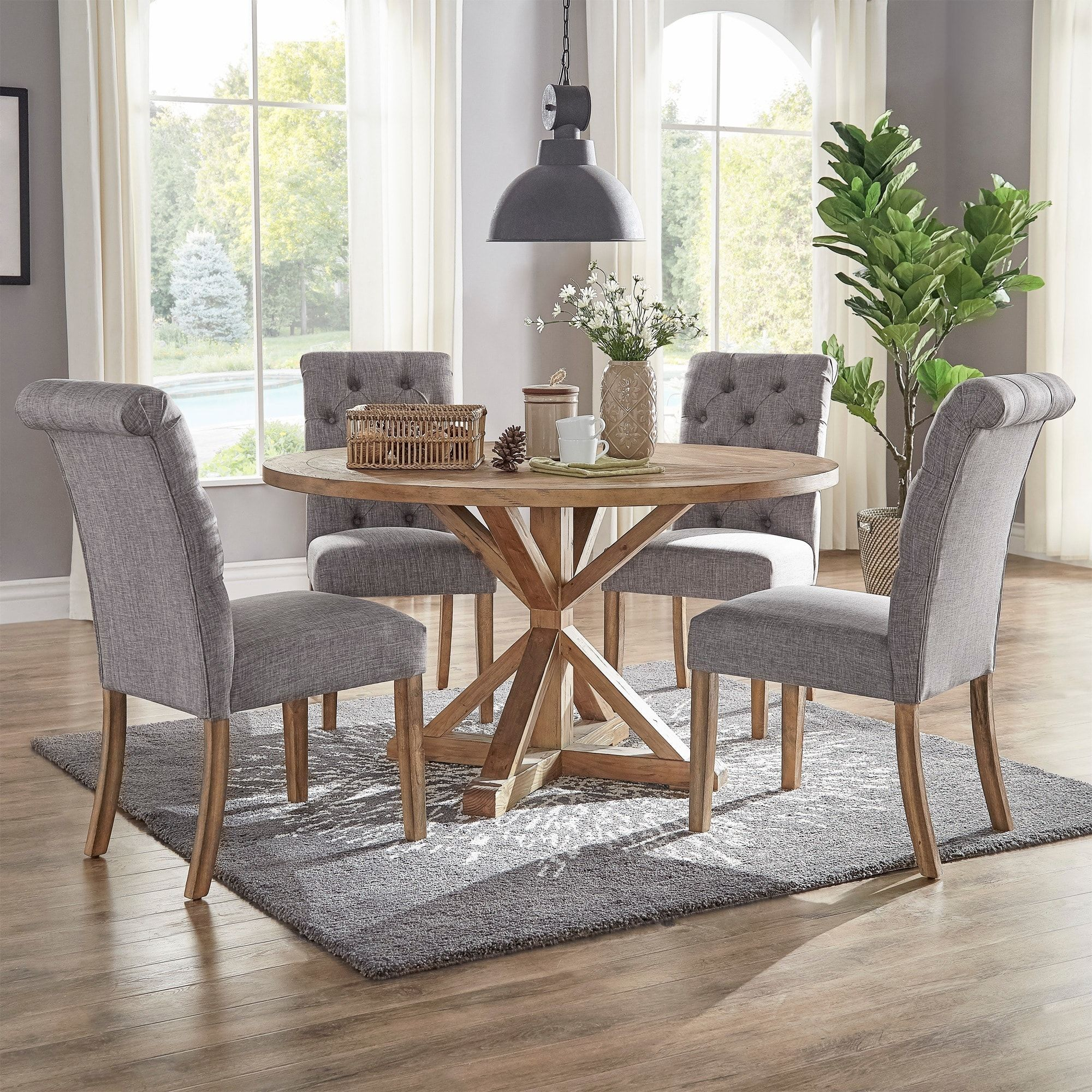 Benchwright Rustic X Base 48 Inch Round Dining Table Set Regarding 2017 Benchwright Round Pedestal Dining Tables (View 4 of 25)