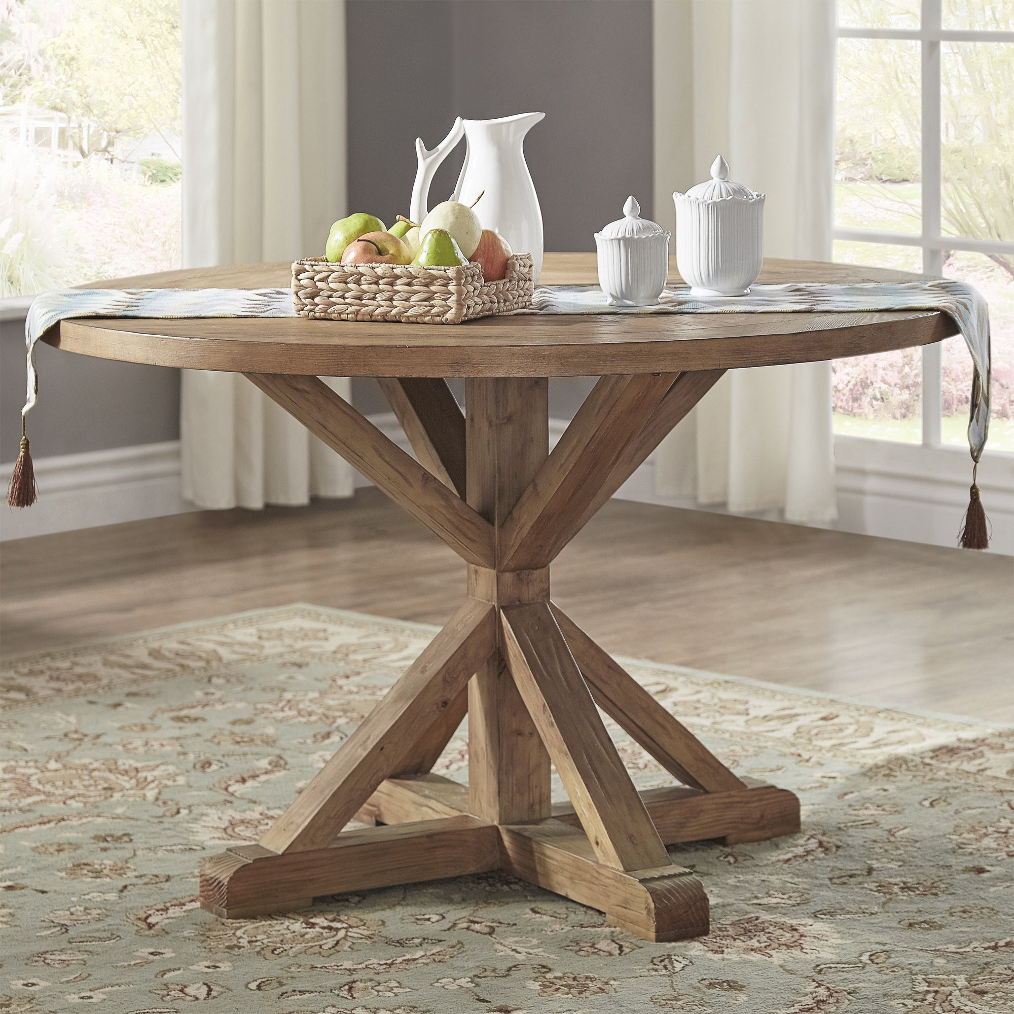 Benchwright Rustic X Base 48 Inch Round Dining Table Setinspire Q Artisan Inside Recent Benchwright Round Pedestal Dining Tables (View 2 of 25)