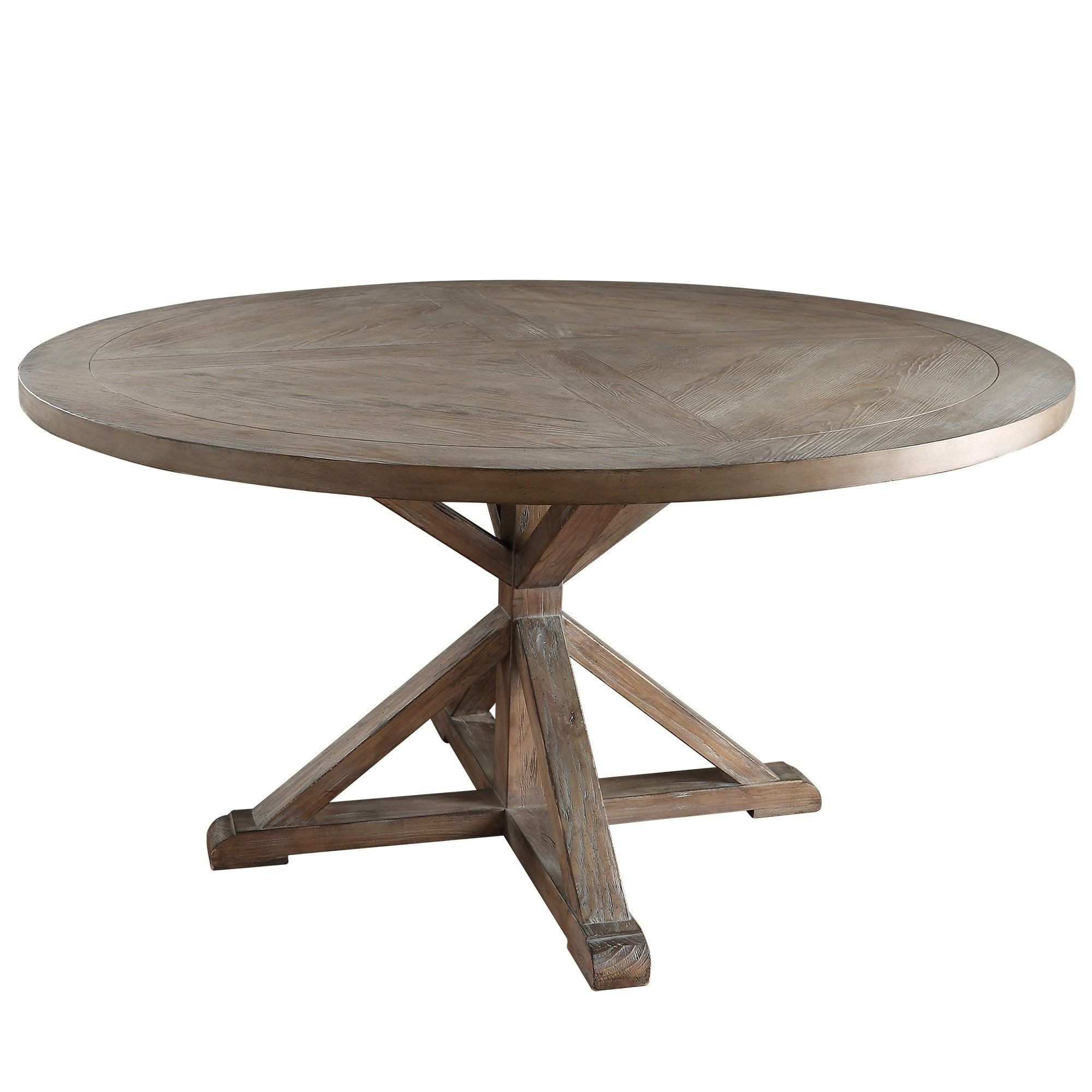 Benchwright Rustic X Base Round Pine Wood Dining Table Pertaining To Recent Benchwright Round Pedestal Dining Tables (View 9 of 25)