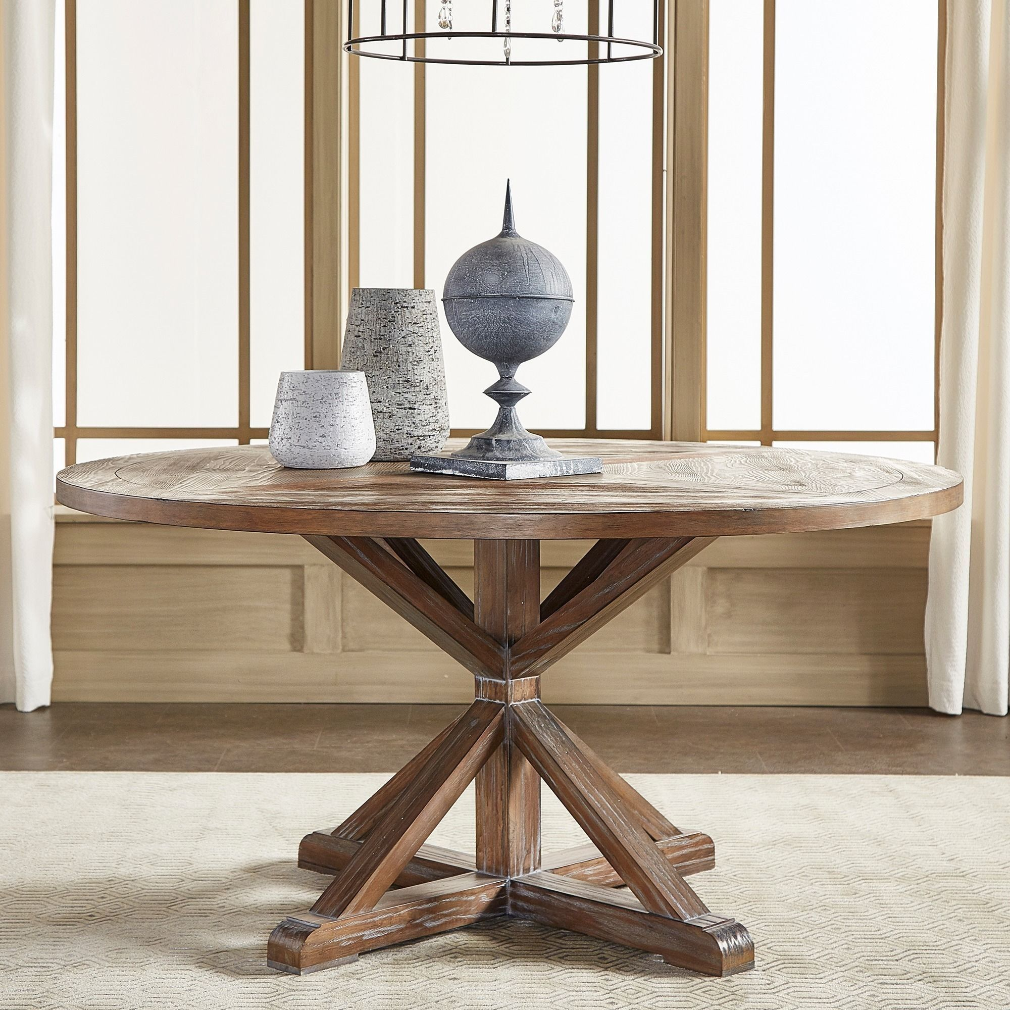 Benchwright Rustic X Base Round Pine Wood Dining Table Throughout Most Recent Rustic Mahogany Benchwright Pedestal Extending Dining Tables (View 18 of 25)