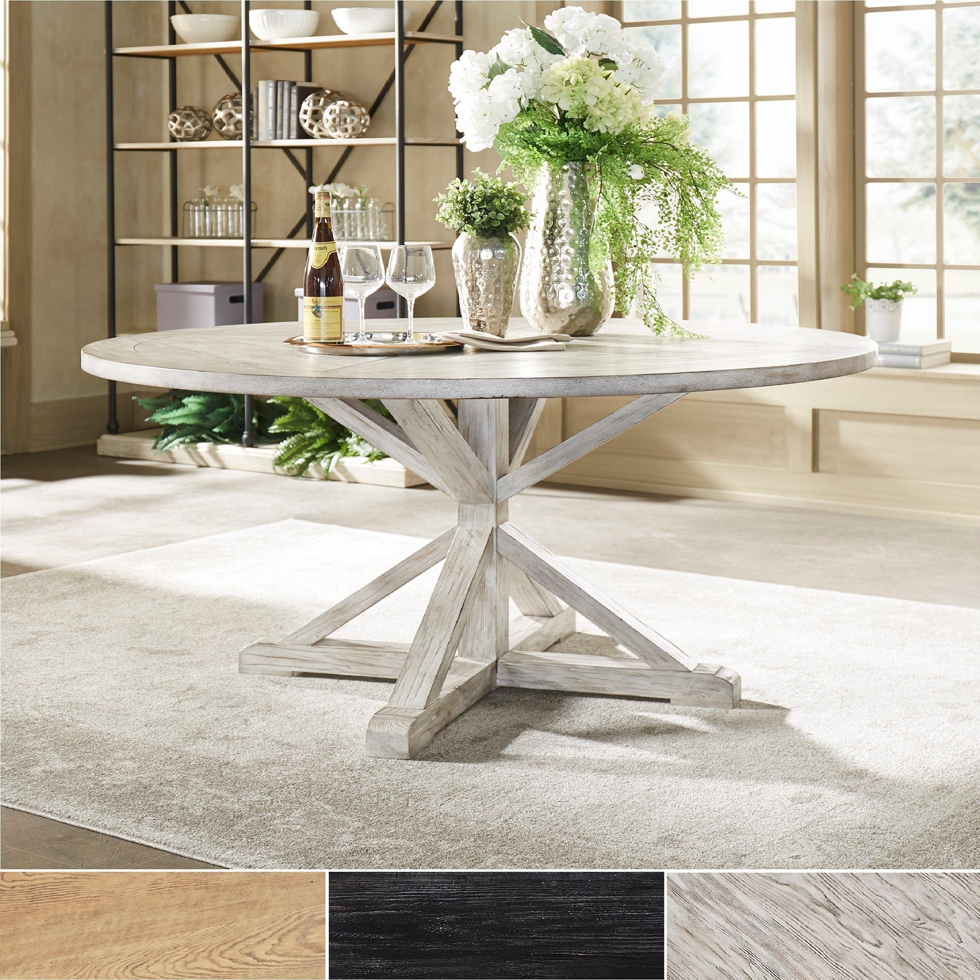 Benchwright Rustic X Base Round Pine Wood Dining Tableinspire Q Artisan For 2017 Rustic Mahogany Benchwright Pedestal Extending Dining Tables (View 14 of 25)