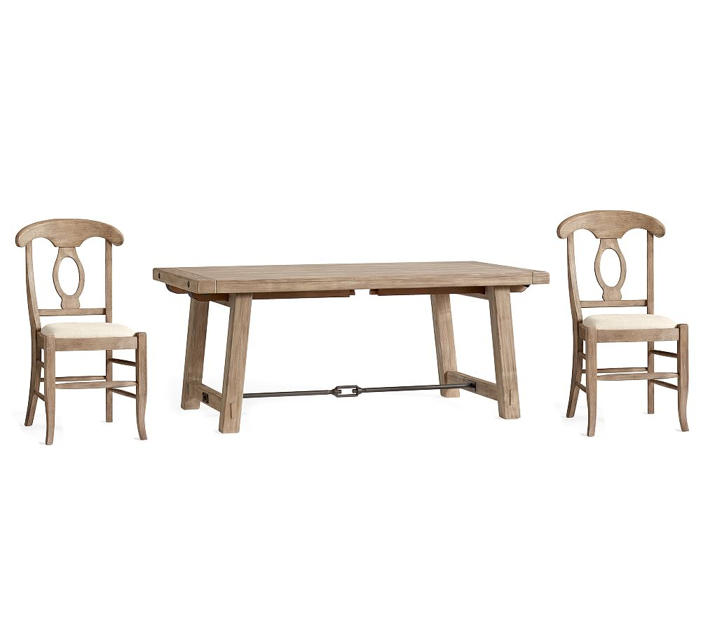 Benchwright Small Extending Dining Table & 4 Napoleon Chairs Pertaining To Current Seadrift Benchwright Extending Dining Tables (View 11 of 25)