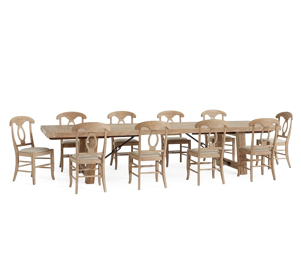 Benchwright Xl Extending Dining Table & 8 Aaron Side Chairs For Recent Seadrift Banks Extending Dining Tables (View 9 of 25)