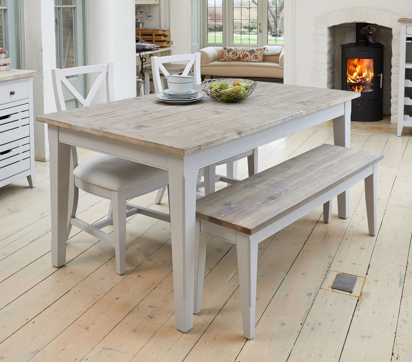 Benson Grey Painted Furniture Extending Dining Table Two Chairs And Bench Set For Most Current Langton Reclaimed Wood Dining Tables (View 18 of 25)