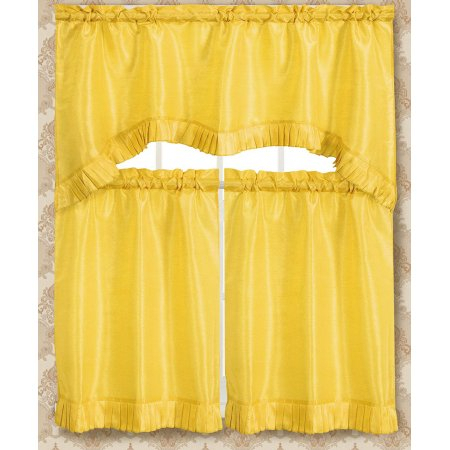 Bermuda Ruffle Kitchen Curtain Tier Set, Lemon, Yellow Intended For Urban Embroidered Tier And Valance Kitchen Curtain Tier Sets (View 8 of 25)