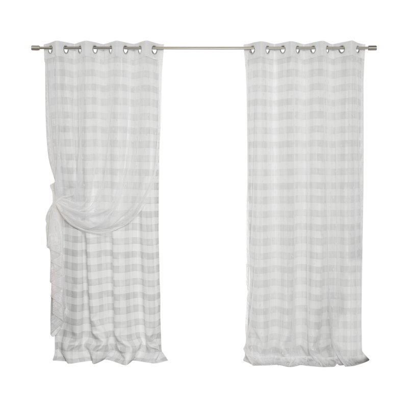 Best Home Fashion Sheer Triangle And Nordic Watercolor Check In Grandin Curtain Valances In Black (View 14 of 25)
