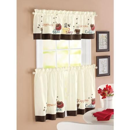Better Homes & Gardens Coffee Window Kitchen Curtains, Set Intended For Kitchen Window Tier Sets (View 16 of 25)