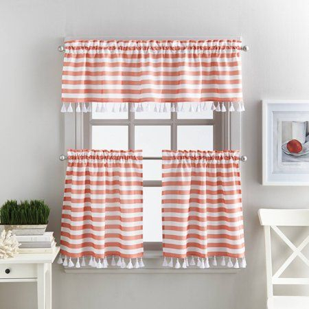 Better Homes & Gardens Stripes And Tassels Kitchen Curtains Within Tailored Valance And Tier Curtains (View 22 of 25)