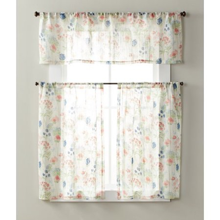Better Homes & Gardens Tranquil Floral Small Window Set Inside Geometric Print Microfiber 3 Piece Kitchen Curtain Valance And Tiers Sets (View 25 of 25)