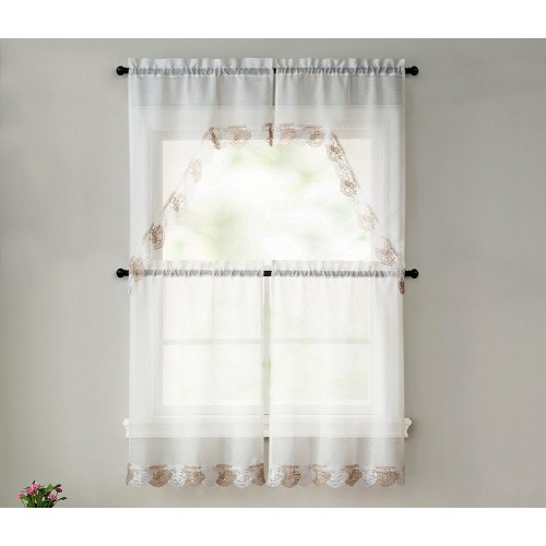 Betty 4 Piece Macrame Tier And Swag Kitchen Curtain Set, Beige Taupe, 27X36 Inches Regarding Chardonnay Tier And Swag Kitchen Curtain Sets (View 21 of 25)
