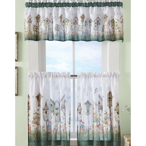 Birdhouse Cafe Kitchen Curtain Set Valance Collections Throughout Embroidered Floral 5 Piece Kitchen Curtain Sets (View 5 of 25)