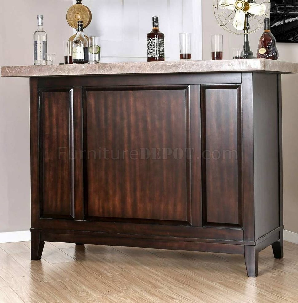 Bismark Bar Table Cm Bt8341 In Espresso & Genuine Marble With Most Recently Released Bismark Dining Tables (View 15 of 25)