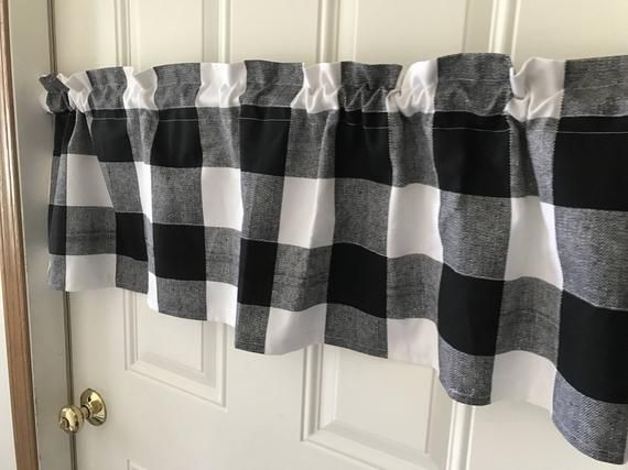 Black And White Buffalo Check Curtain Valance In 2019 Inside Classic Navy Cotton Blend Buffalo Check Kitchen Curtain Sets (View 10 of 25)