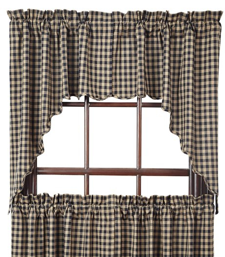 Black Check Scalloped Swag Set Of 2 36X36X16 With Regard To Check Scalloped Swag Sets (View 8 of 25)