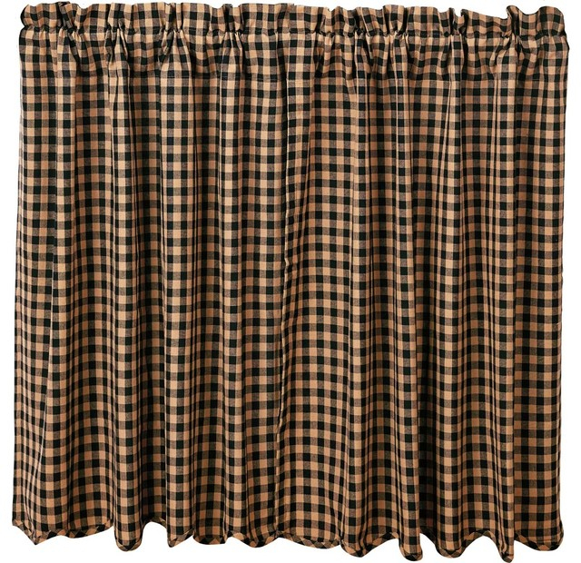 Black Check Scalloped Tier, Set Of 2 L36Xw36 Inside Classic Navy Cotton Blend Buffalo Check Kitchen Curtain Sets (View 21 of 25)