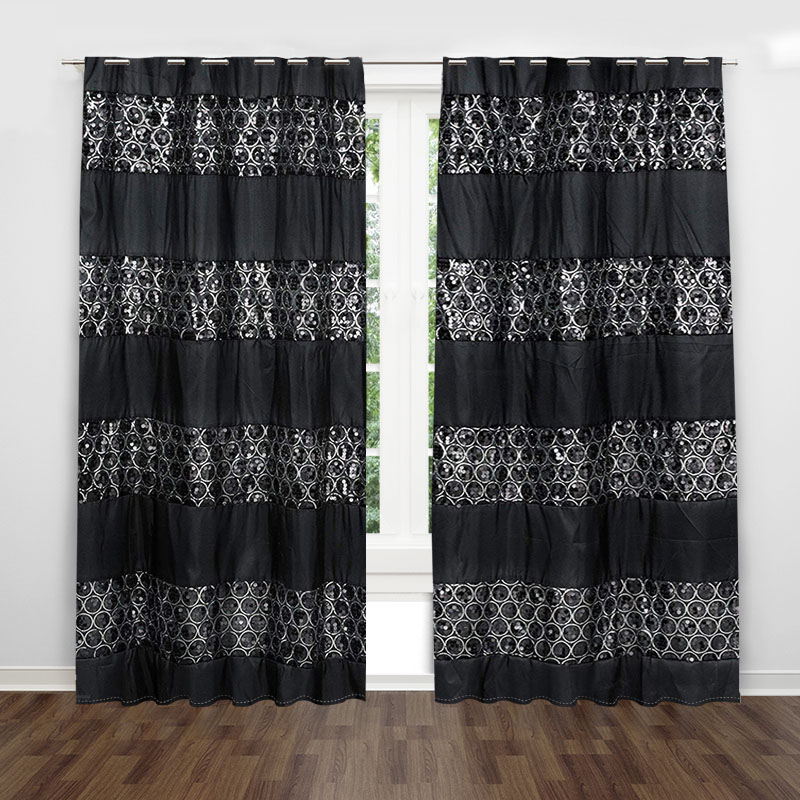 Black Circle Pattern Window Coverings Opaque Valance Modern Simple With Regard To Circle Curtain Valances (View 5 of 25)