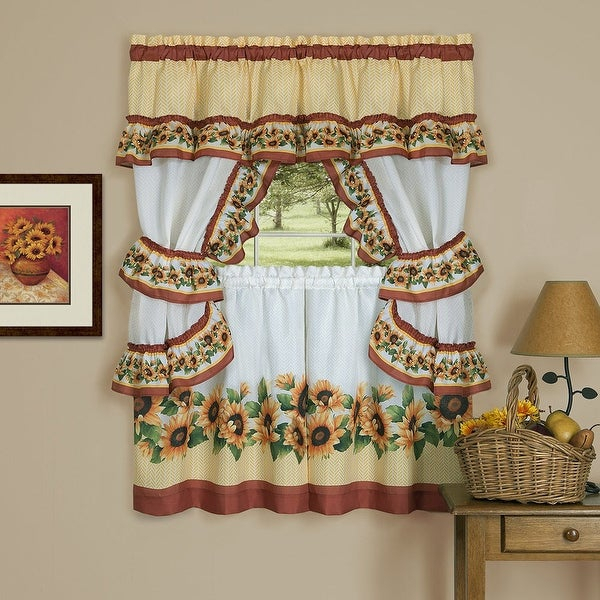 Black Eyed Susan 3 Piece Kitchen Curtain Valance & Tiers Cottage Set, Spice, 57X36 – N/a Regarding Cottage Ivy Curtain Tiers (View 16 of 25)