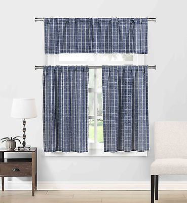 Blue Cotton Blend 3 Pc Kitchen Curtain/cafe Tiers Set: Plaid, 1 Valance, 2 Tiers 792945905815 | Ebay With Regard To Micro Striped Semi Sheer Window Curtain Pieces (View 18 of 25)