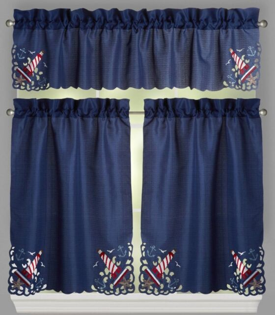 Blue Lighthouse Cutwork Window Tier And Valance Set – Nautical Beach Decor Intended For Coastal Tier And Valance Window Curtain Sets (Image 3 of 25)