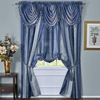 Blue Striped Modern Semi Sheer Light Filtering Window Curtain Drape Full Set | Ebay Throughout Micro Striped Semi Sheer Window Curtain Pieces (View 7 of 25)