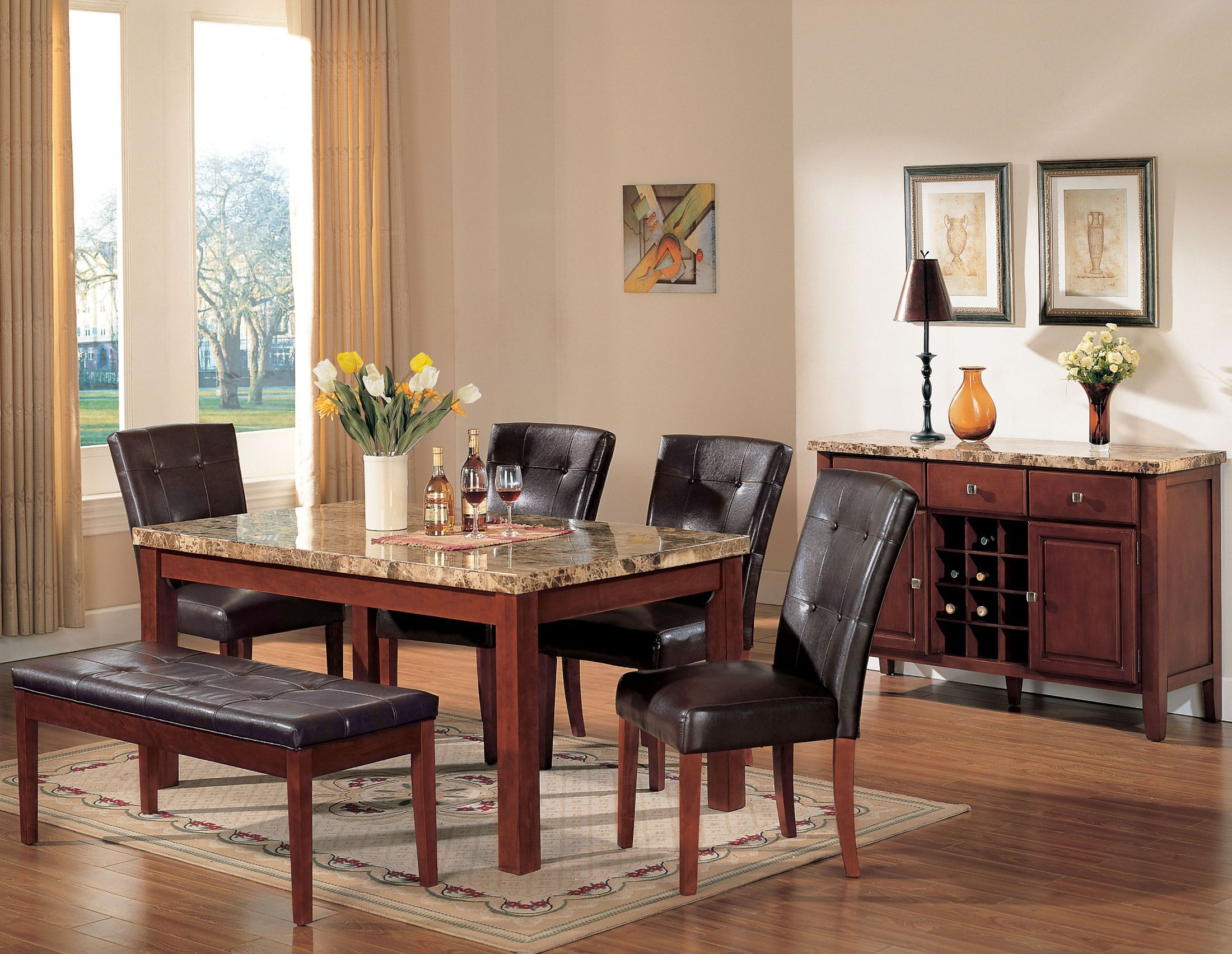 Bologna Brown Marble And Brown Cherry Dining Room Set With Regard To Most Recent Montalvo Round Dining Tables (View 17 of 25)