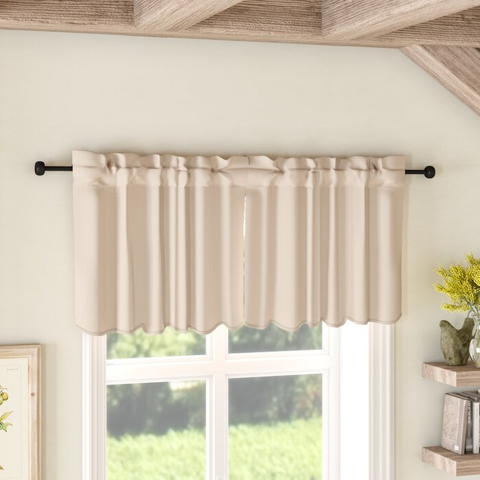 Boucher Solid Natural Scalloped Tier Curtain With Farmhouse Stripe Kitchen Tier Pairs (Image 5 of 25)