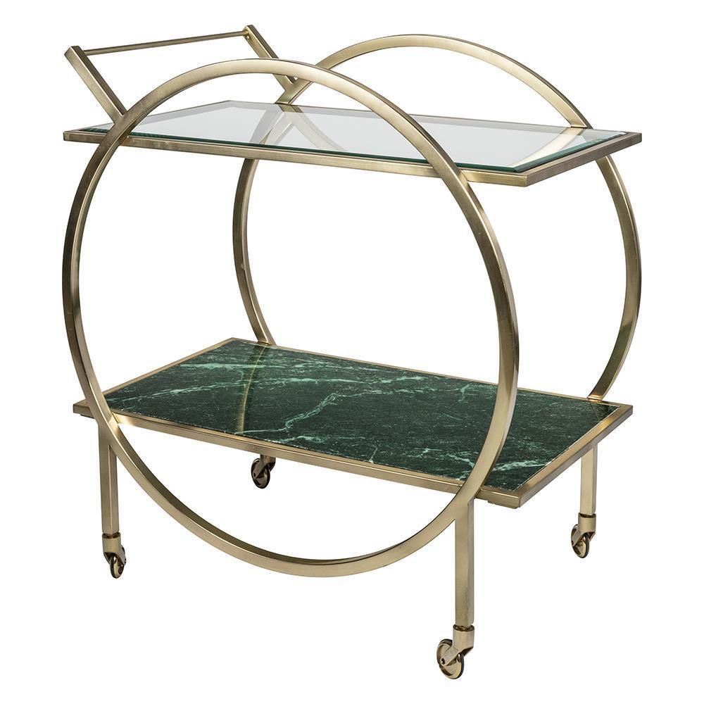 Boyd Blue Hearst Bar Cart Features A Glass Top With Green In Newest Hearst Bar Tables (Image 6 of 25)