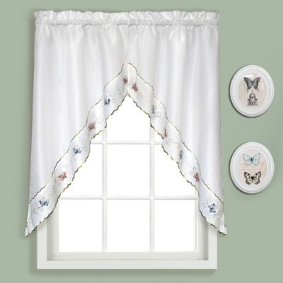 """Bradley Butterfly 36"""" Kitchen Curtain Swag Tier Pair Multi Pertaining To Seabreeze 36 Inch Tier Pairs In Ocean (View 5 of 25)"""