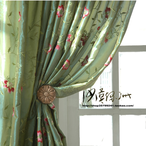 Breeze Chinese Style American Faux Silk Embroidered Curtain Pertaining To Floral Embroidered Faux Silk Kitchen Tiers (View 3 of 25)