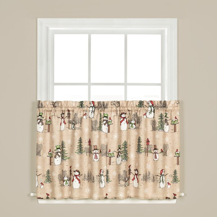 Brenna Snowman Tier Pair Cafe Curtain Within Forest Valance And Tier Pair Curtains (View 21 of 25)