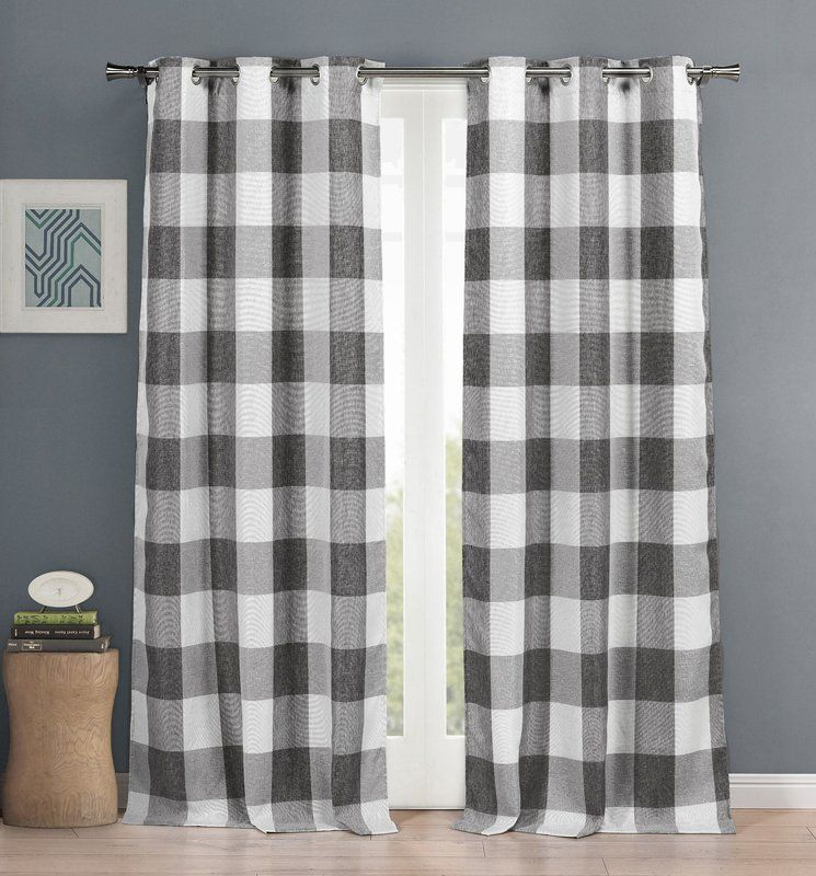 Brockham Room Darkening Thermal Grommet Curtain Panels (Set In Classic Navy Cotton Blend Buffalo Check Kitchen Curtain Sets (View 25 of 25)