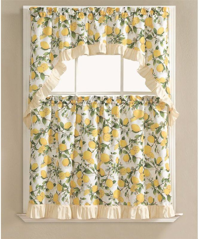 Brookland Lemon Fest Kitchen Curtain Set In 2019 | Kitchen With Regard To Lemon Drop Tier And Valance Window Curtain Sets (View 5 of 25)