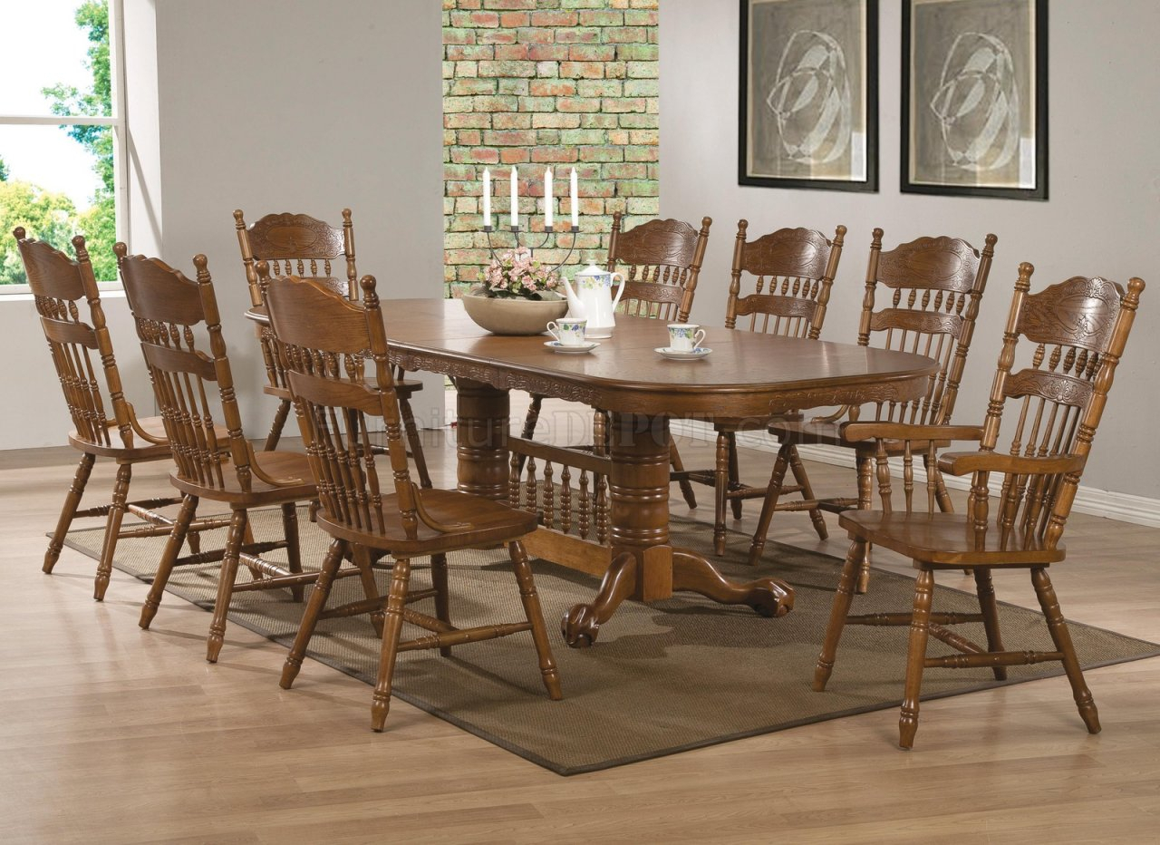 Brooks Dining Table 104271Coaster In Oak W/options Inside 2017 Brooks Dining Tables (View 2 of 25)