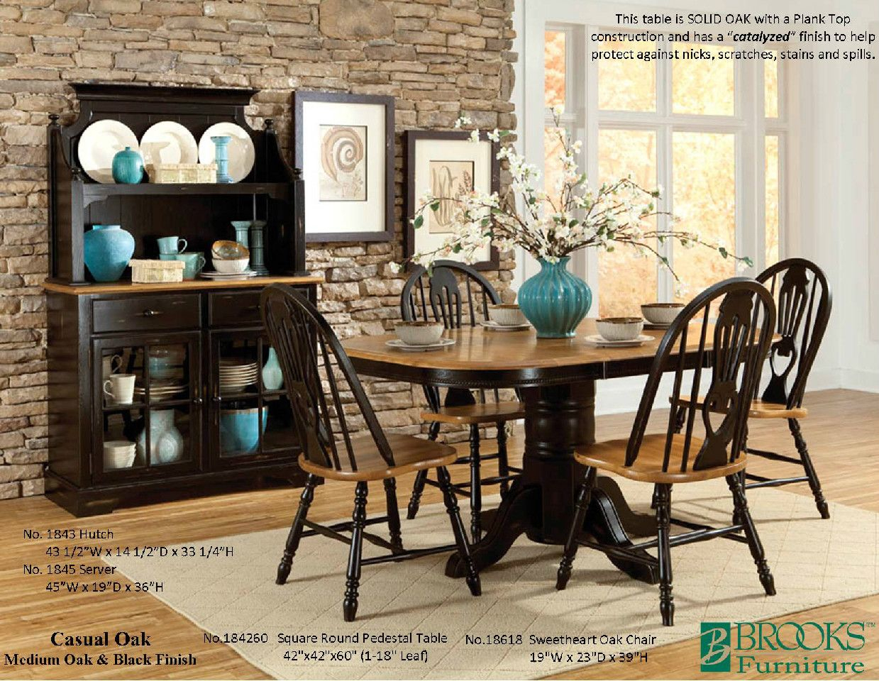 Brooks Furniture Dining Room Casual Oak Medium Oak And Black Within Latest Brooks Round Dining Tables (View 8 of 25)