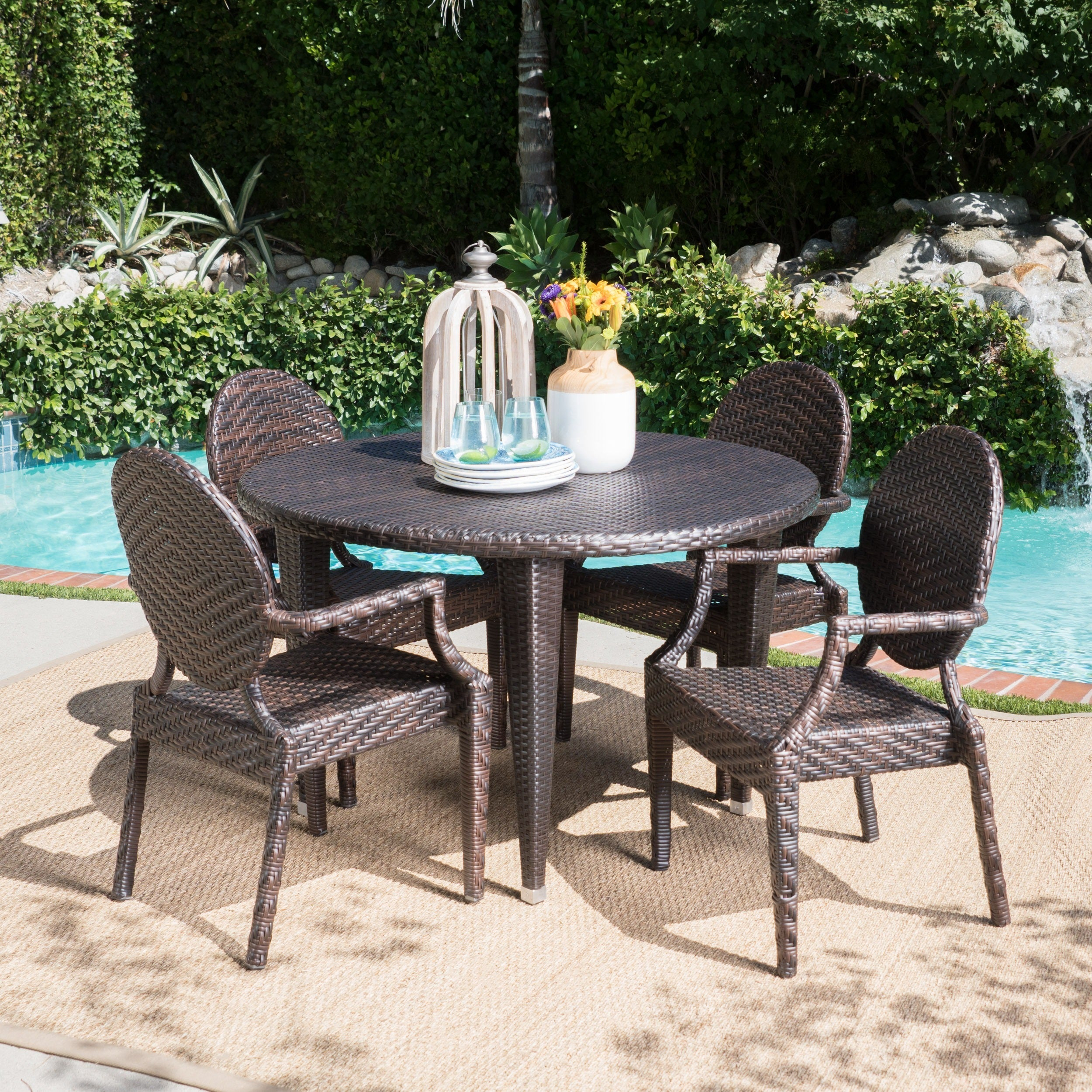 Brooks Outdoor 5 Piece Round Dining Setchristopher Knight Home Pertaining To Most Current Brooks Round Dining Tables (View 13 of 25)