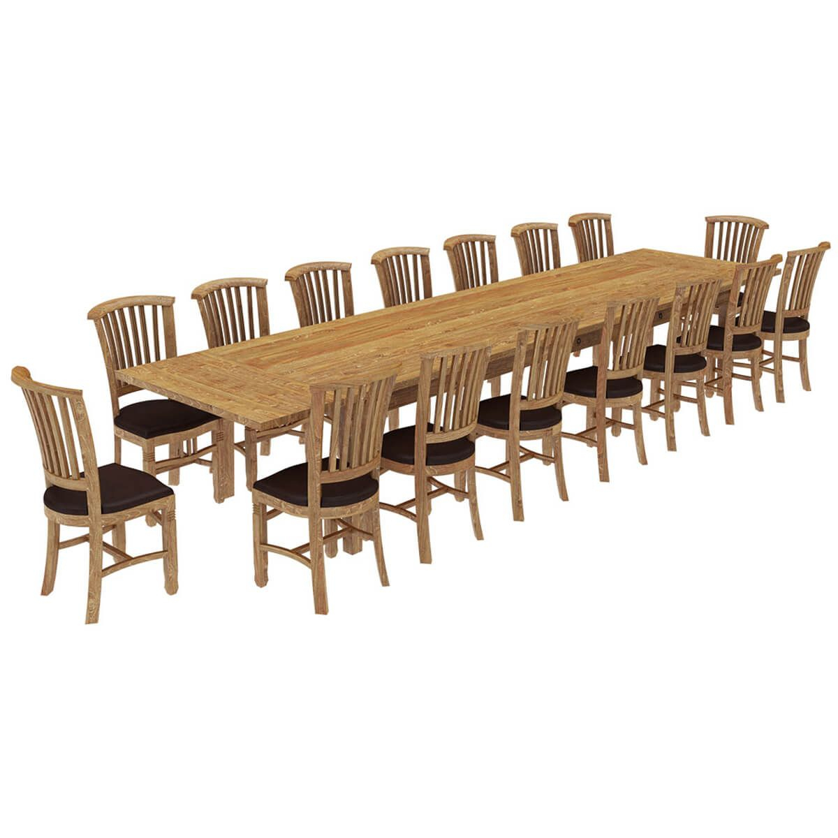 Brussels Reclaimed Wood 17 Piece Large Extendable Dining Within Most Current Brussels Reclaimed European Barnwood Dining Tables (View 5 of 25)