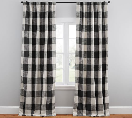 """Bryce Check Curtain, 50 X 108"""", Charcoal 