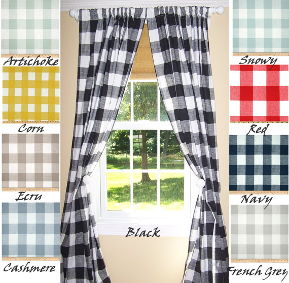 Buffalo Check Curtains, 9 Colors,black Curtains,large Check Throughout Classic Navy Cotton Blend Buffalo Check Kitchen Curtain Sets (View 3 of 25)