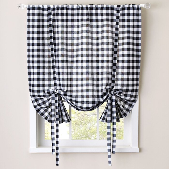 Buffalo Check Decorative Tie Up Shade For Cotton Blend Classic Checkered Decorative Window Curtains (View 19 of 25)