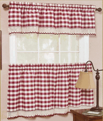 Buffalo Check Gingham Kitchen Curtain Window Treatments With Classic Navy Cotton Blend Buffalo Check Kitchen Curtain Sets (View 19 of 25)