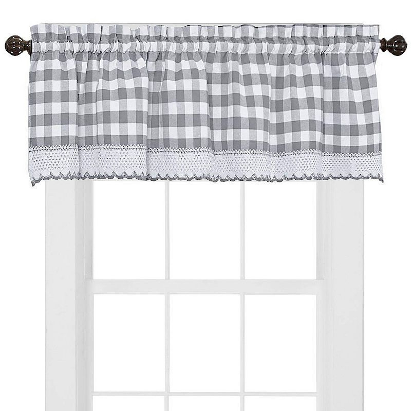Buffalo Check Gingham Kitchen Curtains Tiers Or Valance Pertaining To Dove Gray Curtain Tier Pairs (View 12 of 25)