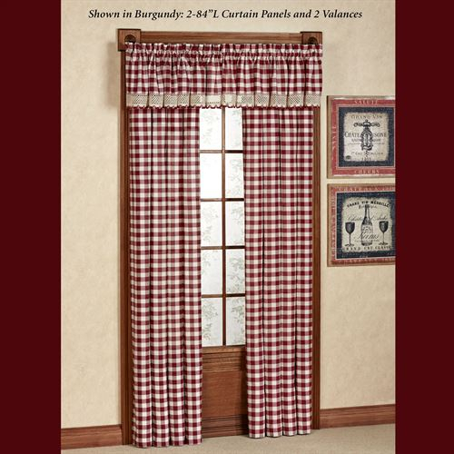 Buffalo Check Window Treatment In Class Blue Cotton Blend Macrame Trimmed Decorative Window Curtains (View 16 of 25)