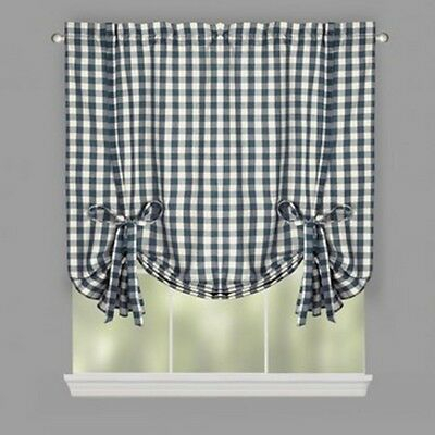 """Buffalo Plaid Farmhouse Country Check Tie Up Window Shade Willow Branch 38X63"""" 