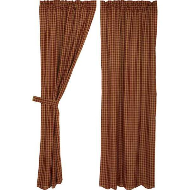 Burgundy Check Scalloped Curtain Panel Set Of 2 84X40 Throughout Check Scalloped Swag Sets (View 14 of 25)