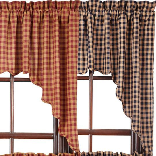 Burgundy Check Scalloped Swags | Primitive | Country Kitchen Regarding Check Scalloped Swag Sets (View 10 of 25)
