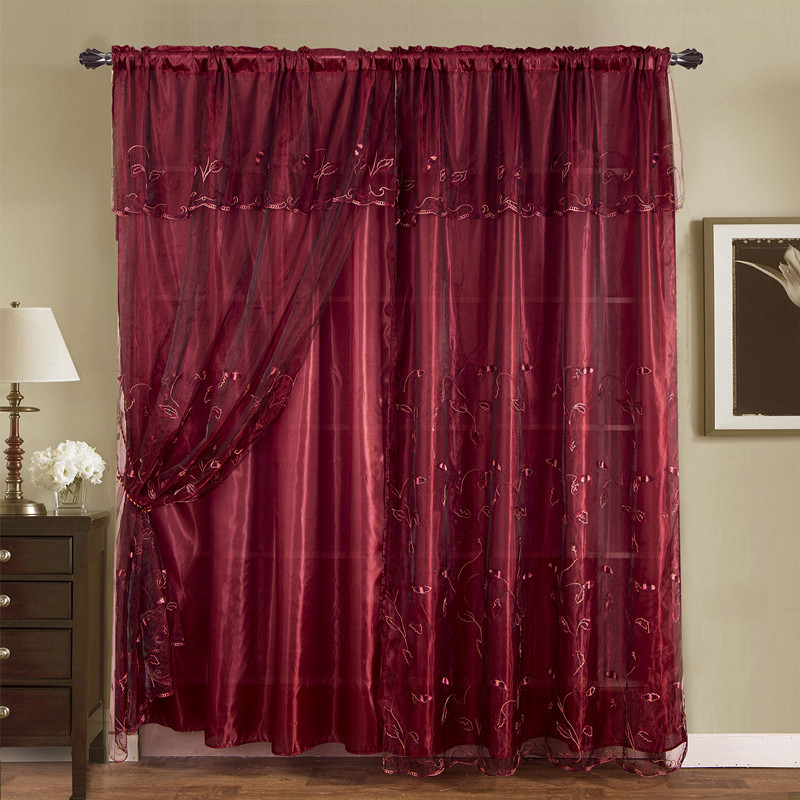 Burgundy Embroidered Romantic Vintage Classic Sheer Window Curtains Drapes For Burgundy Cotton Blend Classic Checkered Decorative Window Curtains (View 10 of 25)